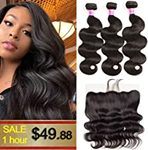 Brazilian Body Wave Hair 3 Bundles with Frontal Closure 13x4 Ear to Ear Lace Frontal with Baby Hair 100% Unprocessed Virgin 8A Human Hair Extensions Weave Natural Black Color (10 12 14+10 Frontal)