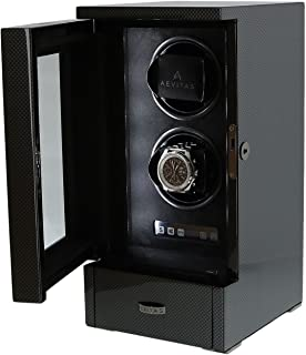 Dual Automatic Watch Winder Carbon Fibre Finish Tower Series by AEVITAS