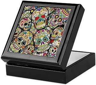 CafePress Sugar Skull Collage Keepsake Box, Finished Hardwood Jewelry Box, Velvet Lined Memento Box