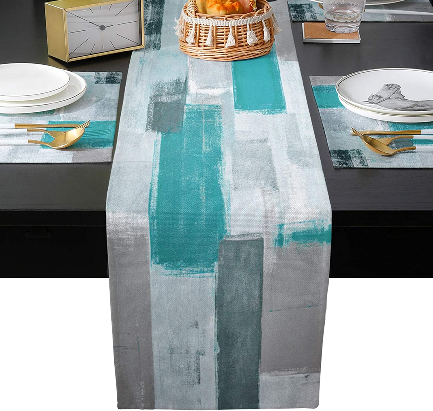 Cloud Max San Antonio Mall 52% OFF Dream Home Table Runner Sets Grey Placemats Teal Pa with 6