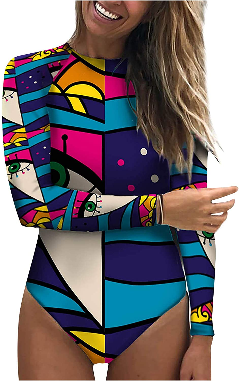 FORUU Long Sleeve Swimsuit for Women 2021,Summer Fashion Personality Abstract Cute One Piece Bathing Suit Beach Swimwear