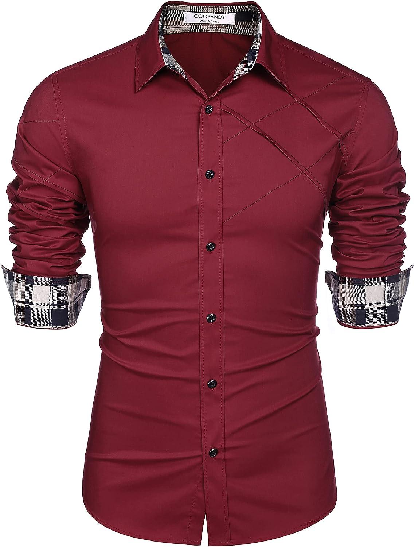COOFANDY Men's Cotton Dress Shirts Long Sleeve Plaid Collar Shirt Slim Fit Casual Button Down Shirt
