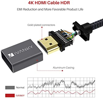 4K HDMI Cable 6.6 ft, iVANKY High Speed 18Gbps HDMI 2.0 Cable, 4K HDR, 3D, 2160P, 1080P, Ethernet - Braided HDMI Cord...