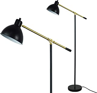 Floor Lamp for Reading by LightAccents - Ashford Adjustable Reading Lamp - Cantilever Standing Pharmacy Style Reading Light Black with Brass Accents