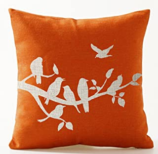 Birds in Tree Branch Orange Background Cotton Linen Throw Pillow Case Cushion Cover Home Office Decorative Square 18 X 18 ...