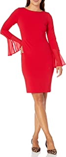 Calvin Klein Women's Petite Solid Sheath with Chiffon Bell Sleeves Dress