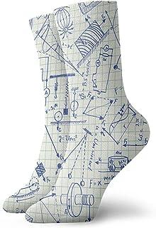 Fuliya, Calcetines suaves de media pantorrilla, fórmula técnica temática escolar y dibujos sobre fondo de papel cuadrado, calcetines para mujeres y hombres, mejor para correr