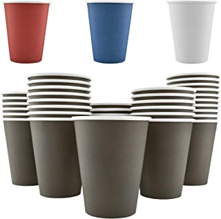 200 Pack - 12 Oz [8 oz] [4 Colors] Disposable Hot Paper Coffee Cups - Mocha Brown (Cups Only)