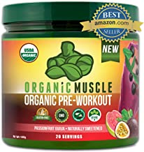 ORGANIC MUSCLE #1 Rated Organic Pre Workout Powder– Natural Vegan Keto Pre-Workout & Organic Energy Supplement for Men & W...