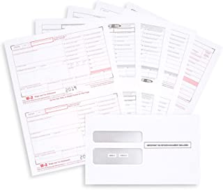 W2 Forms 2019, 6 Part Tax Forms, 25 Employee Kit of Laser Forms Designed for QuickBooks and Accounting Software, 25 Self Seal Envelopes Included