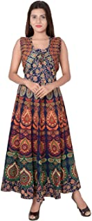 6TH AVENUE STREETWEAR Cotton Women's Maxi Long Dress Jaipuri Printed with Attached Jacket (Free Size Upto 44-XXL), Multicolor