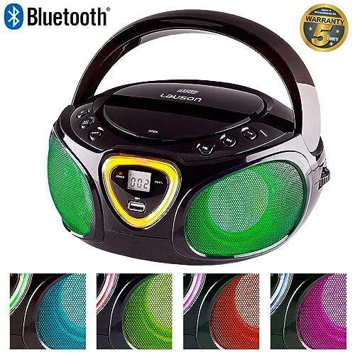 Lauson Radio CD avec Lecteur MP3 Bluetooth   USB Port   Lecteur CD Portable pour Enfants   Effet Disco Lumière LED pour Plus d'amusement et de Divertissement de Tous   FM   CP452 (Noir)