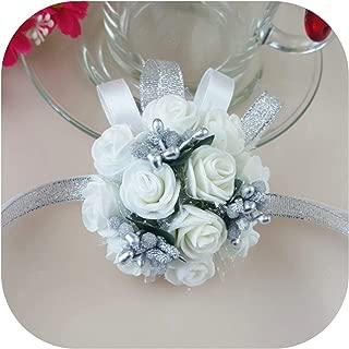 Pop Hand Flowers Artificial Bride Flowers Artificial Wrist Flower Bridesmaid Sisters Wedding Decoration Flower,Silver Beads