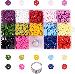 Pandahall Elite 1400Pcs 14 Colors Resin Buttons 2 Hole Round Sewing Flatback Buttons For Sewing Art Diy Crafts With Thimble