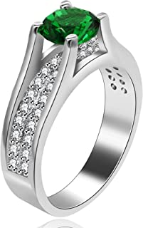 Uloveido Women's Platinum Plated Round Cut AAA Cubic Zirconia Wedding Band Promise Ring for Her with Birthstone Y006