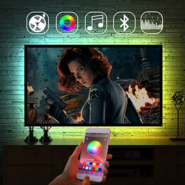 LED Strip Lights TV Backlight APP Control Color Changing LED Strip RGB Bias Lighting USB Powered For TV Under Table Bed Room Sync To Music For Party Android IOS LED Strip Lights TV Backlight