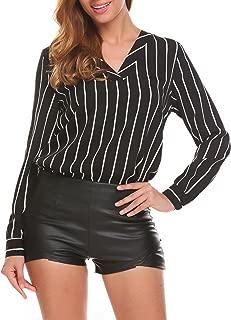 V Neck Blouse Women's Long Sleeve Casual Vertical Stripe Autumn Tunic Shirt
