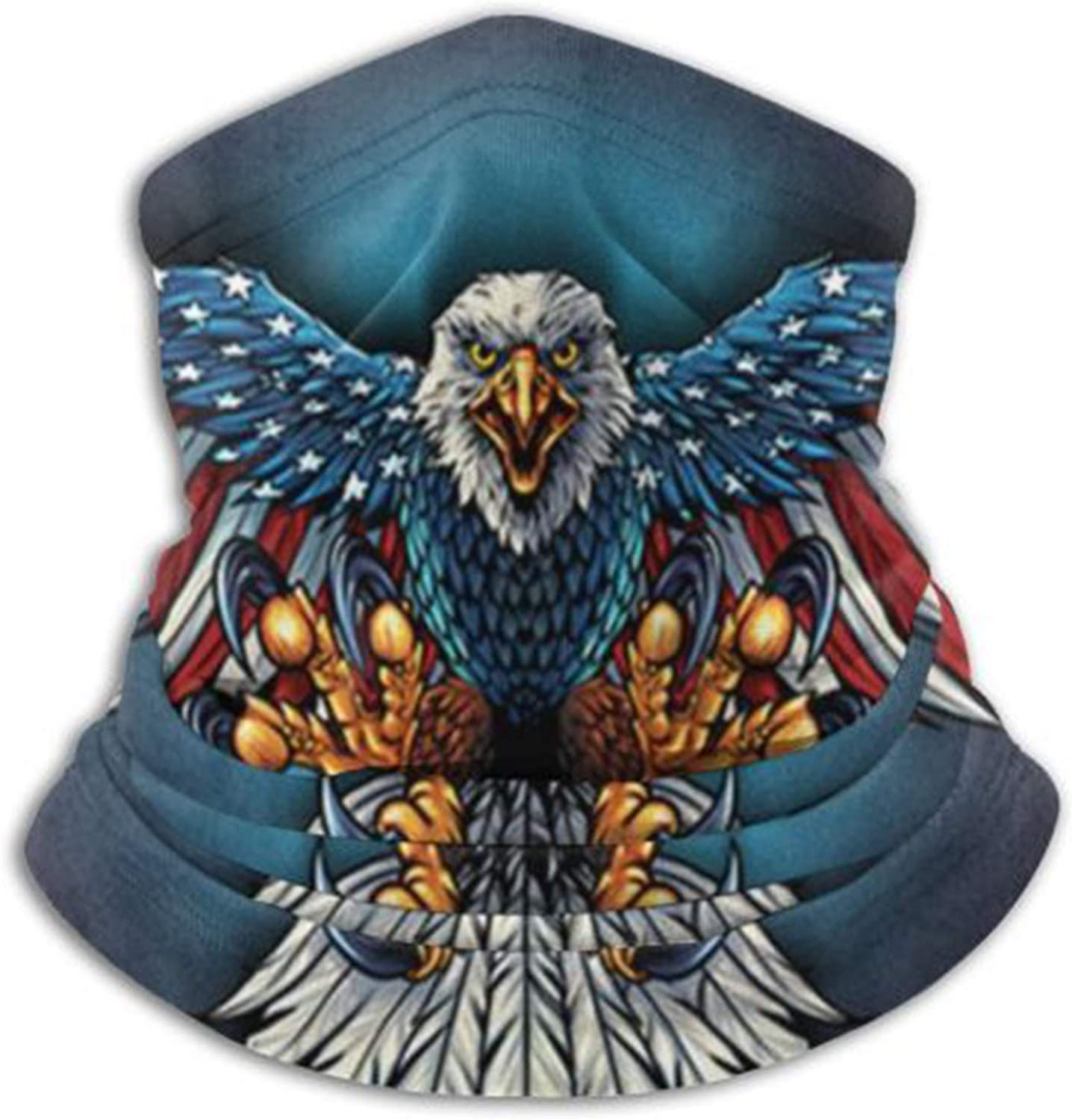 Eagle Fly American Flag Neck Gaiter Headwear Headband Head Wrap Scarf Mask Warmers Headbands Perfect For Winter Fishing, Hiking, Running, Daily Wear For Men And Women