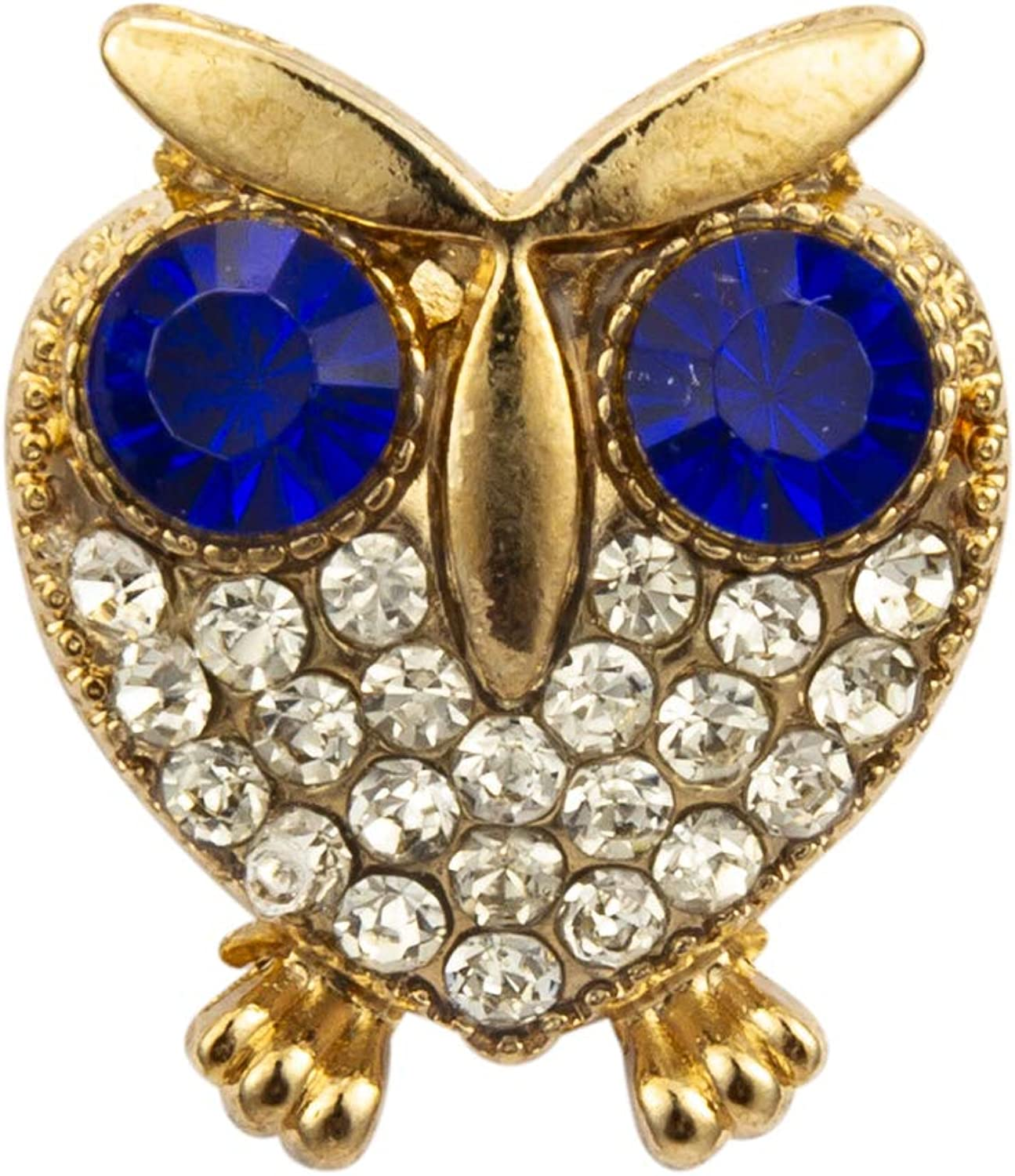 Knighthood Golden Heart Shape Lucky Owl with Big Rhinestone Eyes Lapel Pin Badge Coat Suit Wedding Gift Party Shirt Collar Accessories Brooch for Men
