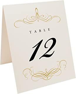 Decadent Flourish Table Numbers (Select Color/Quantity), Champagne, Gold, 1-10