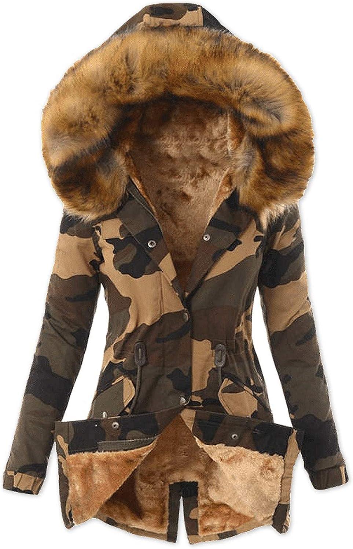 FABIURT Winter Coats for Women Fashion Warm Thicken Faux Fur Lined Hooded Winter Cotton Coat Long Parka Jackets Outwear