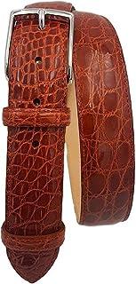 ESPERANTO Cintura uomo in vero fianco di coccodrillo, fodera vera pelle cuoio nabuk fibbia nichel free - altezza 4 cm (Ara...