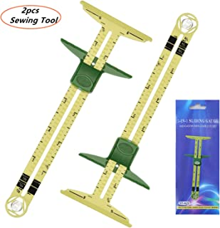 2pcs 5 in 1 Handy Sliding Sewing Gauge Quilting Tools for Beginner Work as T-Gauge, Hem Gauge, Seam Allowance