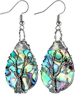 Sponsored Ad - SUNYIK Natural Abalone Shell Tree of Life Dangle Earrings for Women, Handmade Wire Wrapped Teardrop Drop Ho...