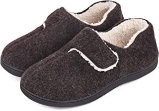 Men`s Fuzzy Wool-Like Memory Foam Slippers Closed Back Fleece House Shoes with Adjustable Hook and Loop