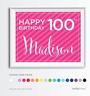 Andaz Press Personalized Milestone Birthday Wall Art Poster Signs, 100th Birthday Gifts, Decorations and Party Decor, Happy 100th Birthday Madison!, 1-Pack, Custom Made Any Name and Color