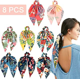 8Pcs Hair Scrunchies Silk Elastic Hair Bands Hair Scarf Ponytail Holder Scrunchy Ties Vintage Accessories for Women Girls(...
