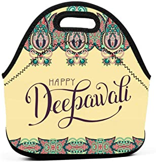 Happy Deepawali Greeting Card with Hand Written 2878 Reusable Lunch Bags Boys for Work Outdoor Travel Picnic 11.4 × 11 × 5.5 Inch