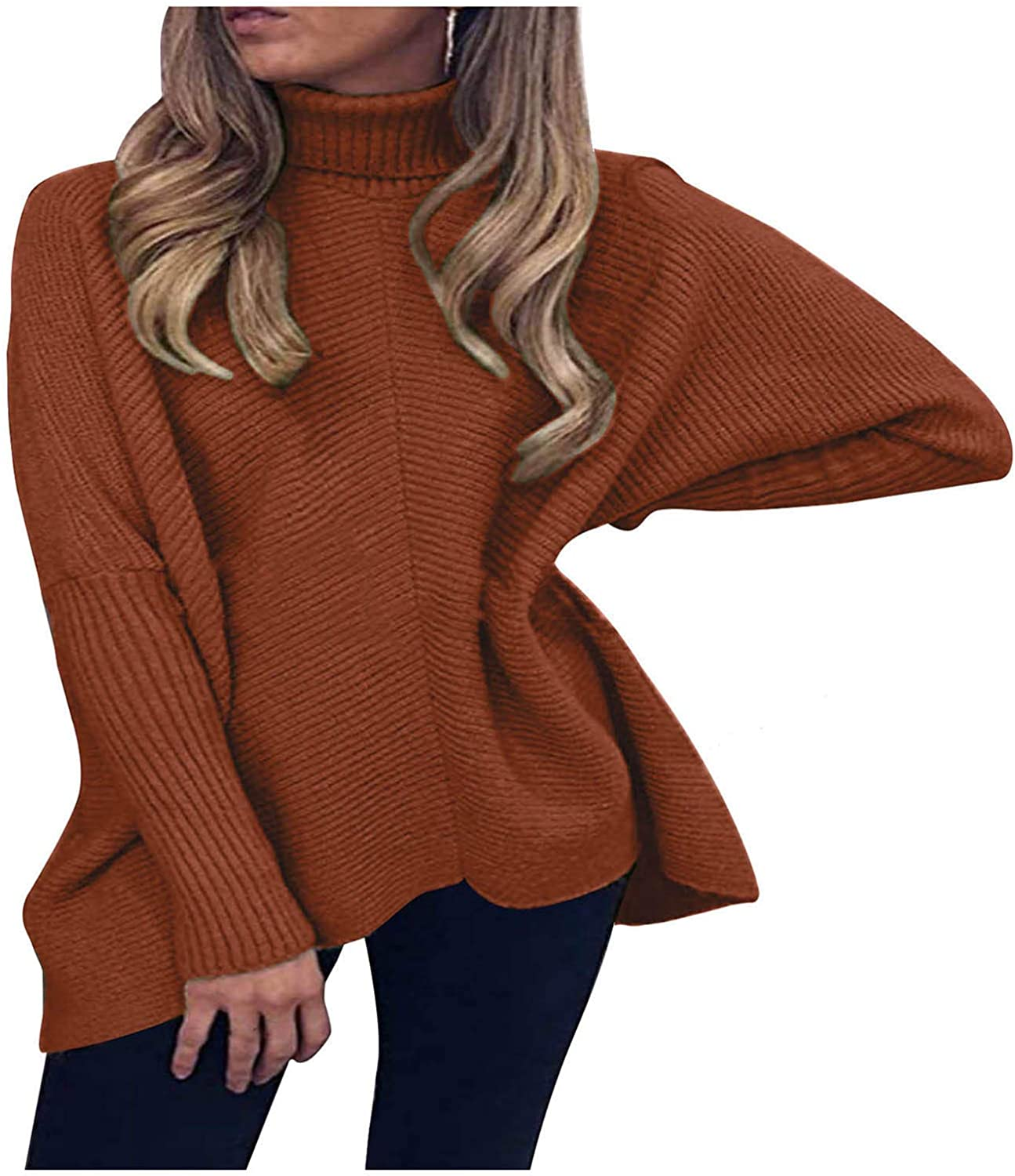 Oversized Sweaters For Women Long Sleeve Turtleneck Solid Color Pullover Sweathirts Casual Ribbed Knit Sweater