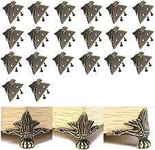 VinBee 20 PCS Antique Brass Wood Case Jewelry Chest Storage Box Feet Leg Corner Protector