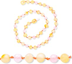 """Baltic Amber Teething Necklace for Baby with Rose Quartz- Natural Soothing Teething Pain Relief with Raw Certified Amber - Safety Knotted - Highest Quality Jewelry for Your Kid (Pink - 12.5"""")"""