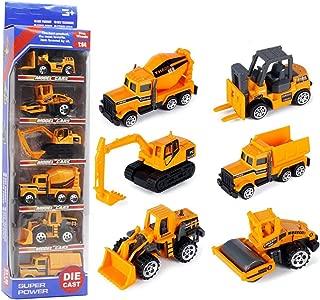 HAPTIME 6 Pcs Mini Truck Toys Small Construction Engineering Vehicle Educational Cars Kit Include Excavator/Dump Truck/Bulldozer/Wheel Loader/Forklift for Preschool Children Kids
