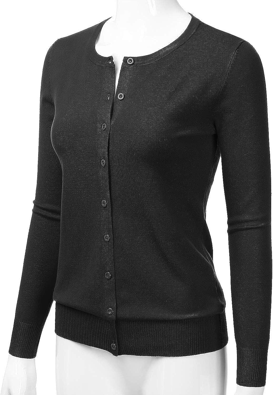 LALABEE Women's Crewneck Long Sleeve Button Down Knit Cardigan Sweater (S-XXL)