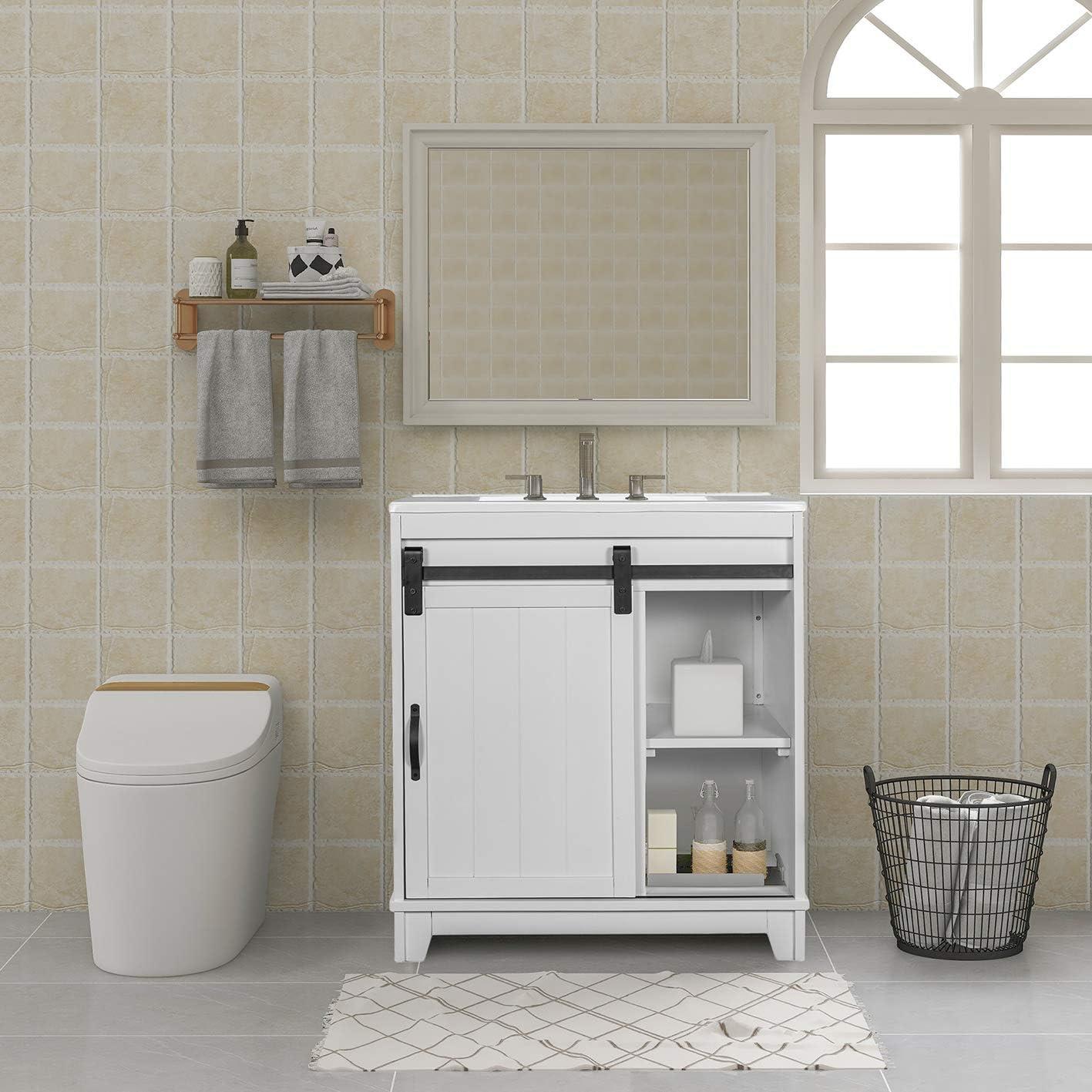 Amazon Com Kksafe Bathroom Sink Vanity 30 X 18 X 34 Inch Narrow Depth Vanities With Sliding Barn Door And White Sink Small Bathroom Vanity Sink Combo Storage Vanity Cabinet Vanity Sinks For