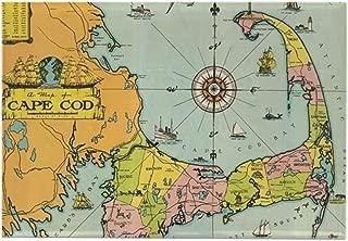 CafePress Vintage Map Of Cape Cod Rectangle Magnet, 2