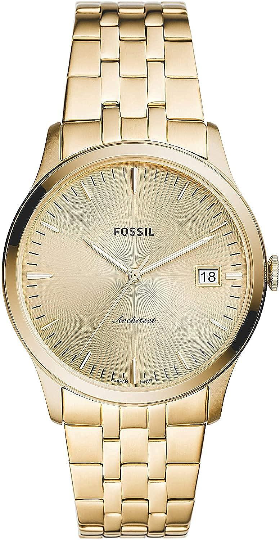 Fossil Reloj Analógico para Hombres de Cuarzo con Correa en Acero Inoxidable FS5745