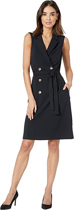 Sleeveless Crepe Coat Dress