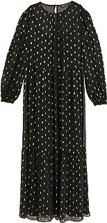 Marks & Spencer Women's Foil Round Neck Midaxi Tiered Dress, BLACK MIX