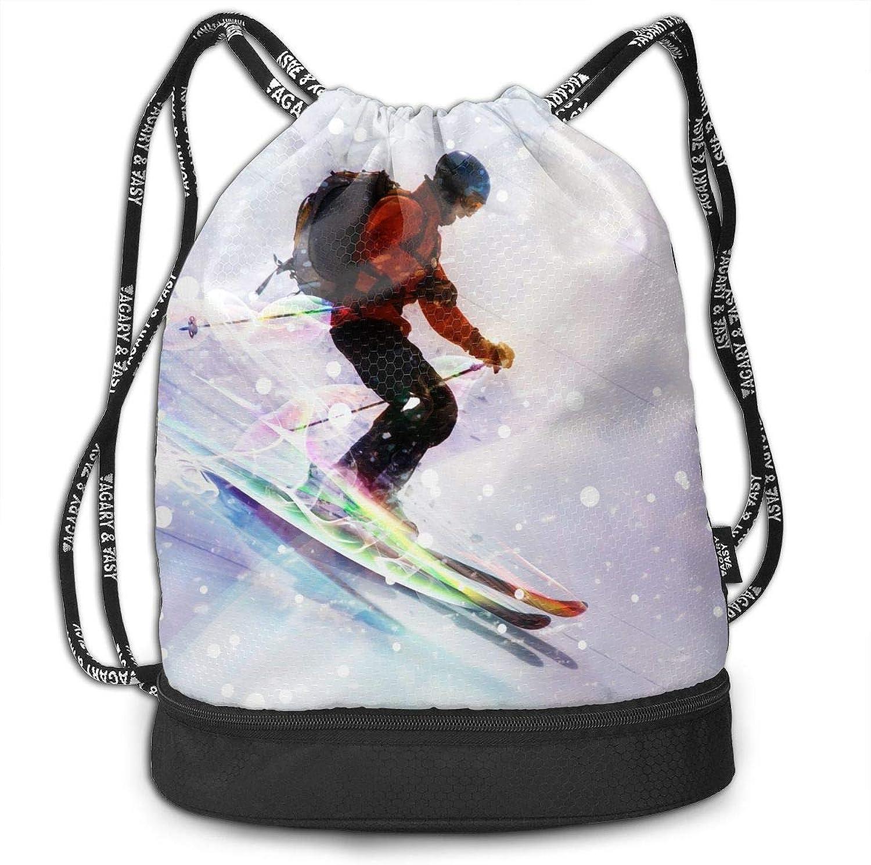Gymsack Skiing Shining Snow Print Drawstring Bags  Simple Hiking Sack