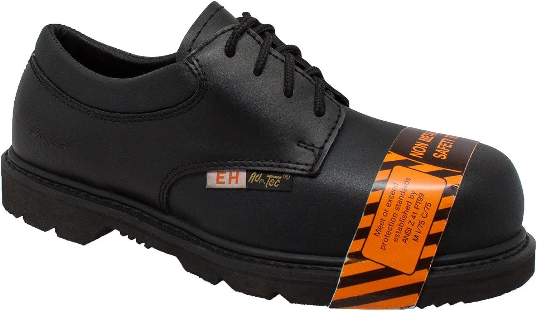 AdTec Mens Black 4in Composite Toe Oxford Shoes Leather Uniform