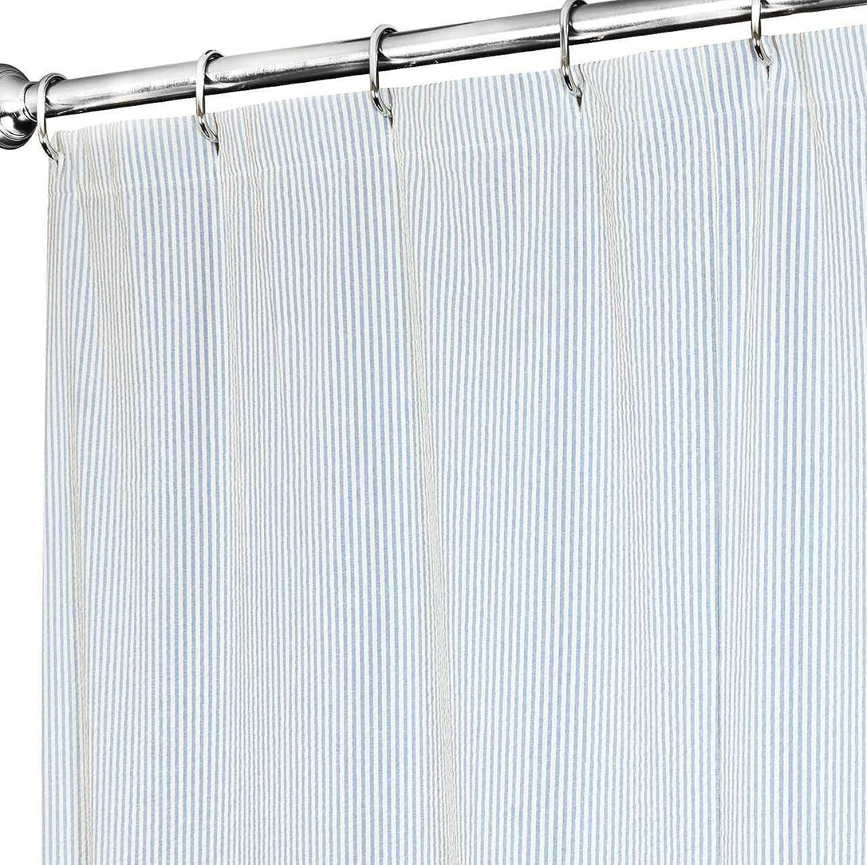 Shower Curtains for Bathroom Fabric Shower Curtain bluee Shower Curtain Striped Seersucker for Beach House Decor 72  x 72