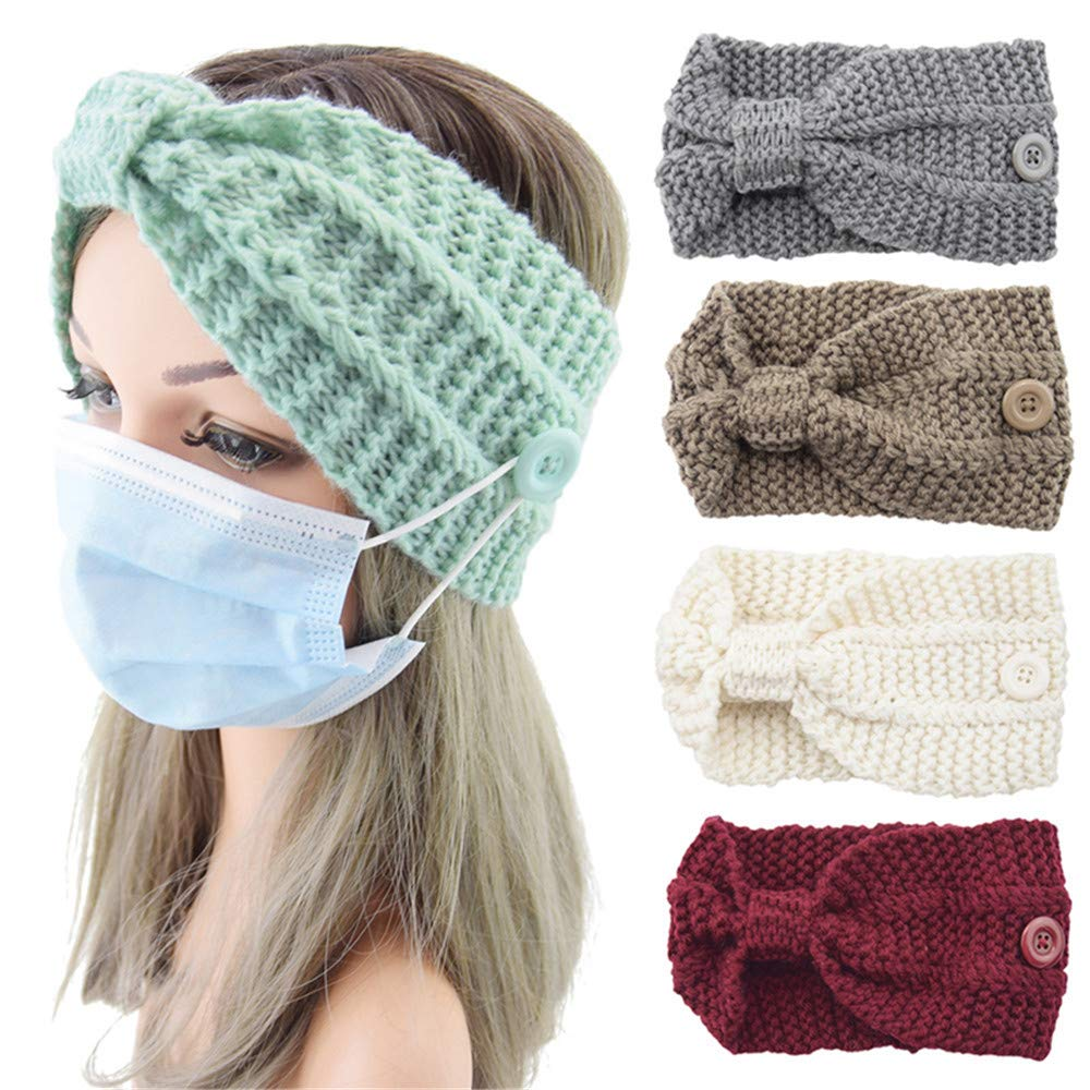 QTMY 5 Pack Headbands Boston Mall New Shipping Free Shipping with Buttons Kno for Warm Mask Knit Winter