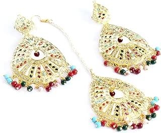 Gold Jadau Navratan Bridal Pearl Punjabi Muslim Indian Earrings Tikka jewelry Set