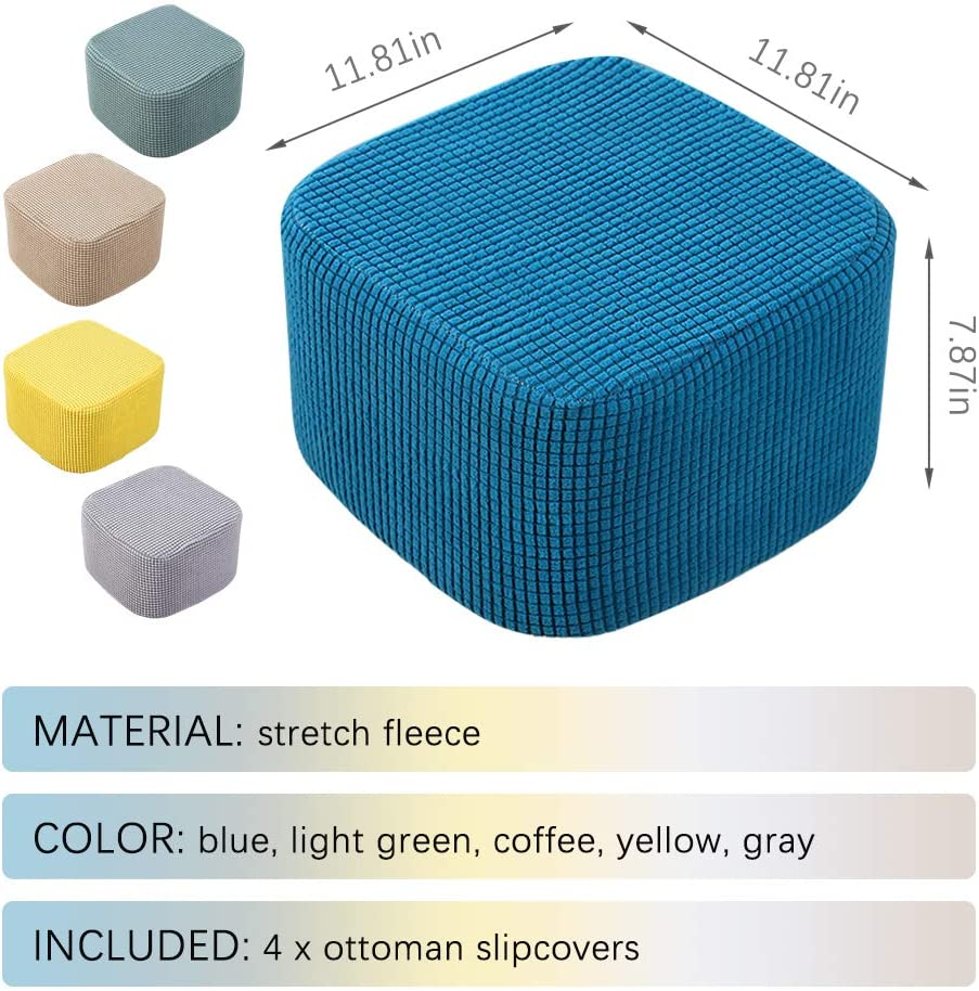 Blue Pearlead 4Pcs Removable Stretch Square Ottoman Slipcovers ...