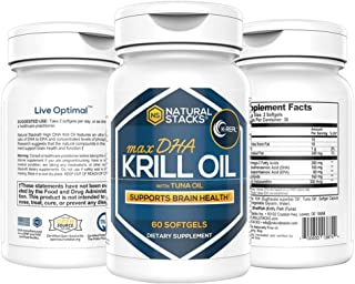 Natural Stacks: Cold Pressed Krill Oil - 30 Day Supply - Promotes Heart Health - Relieves Joint Pain - Improves Brain Function - Reduce Inflammation