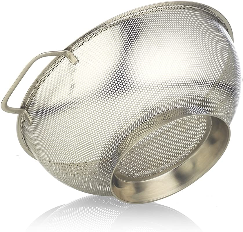 Stainless Steel Colander 5 Quart Size Microperforated Kitchen Strainer For Pasta Rice Orzo Fruits Vegetables More With Riveted Handles 11 22 Diameter Bowl By SimplyHomeOnline